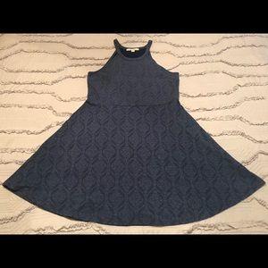 Blue Halter Skater Dress